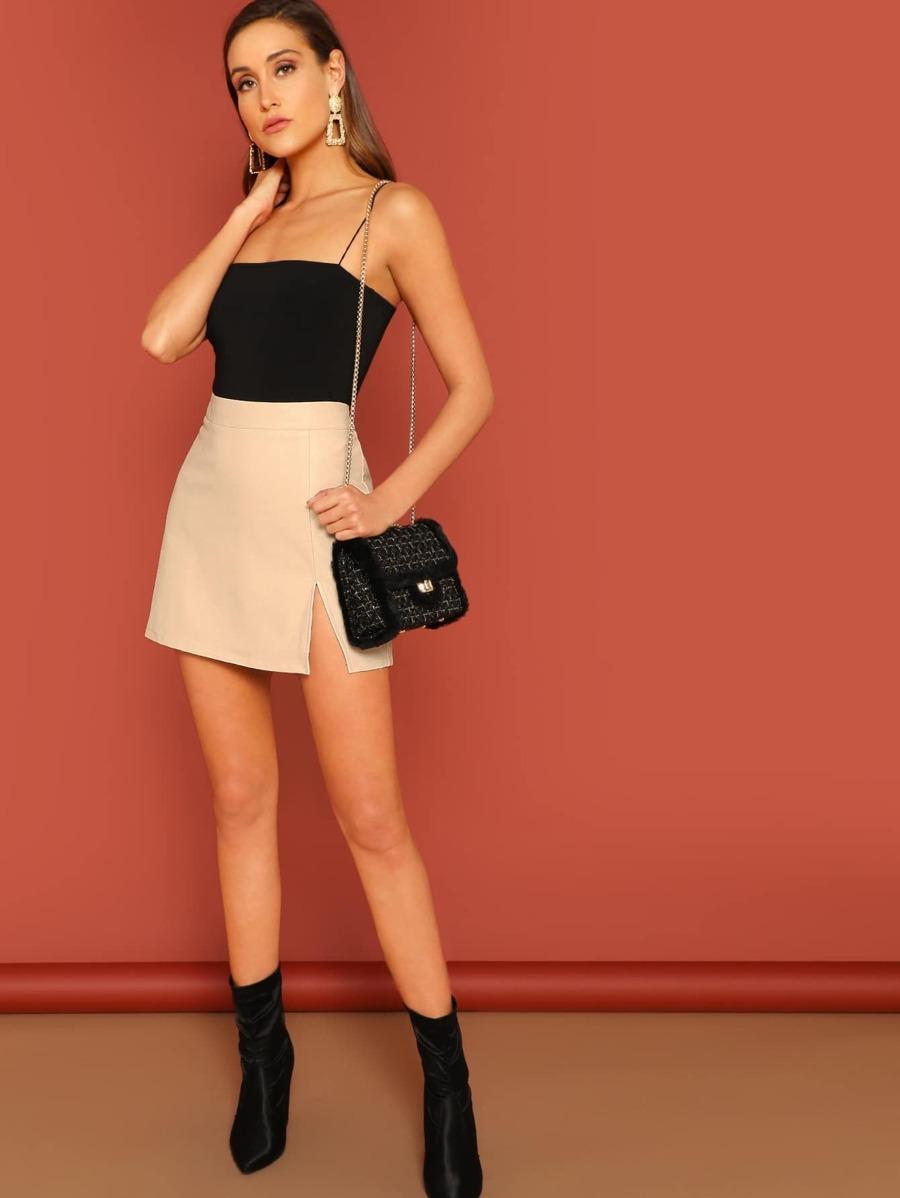 8012696c0 Shoptagr   Zip Back Split Hem Solid Skirt by Shein