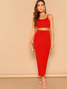 Crop Cami Top and Bodycon Skirt Set