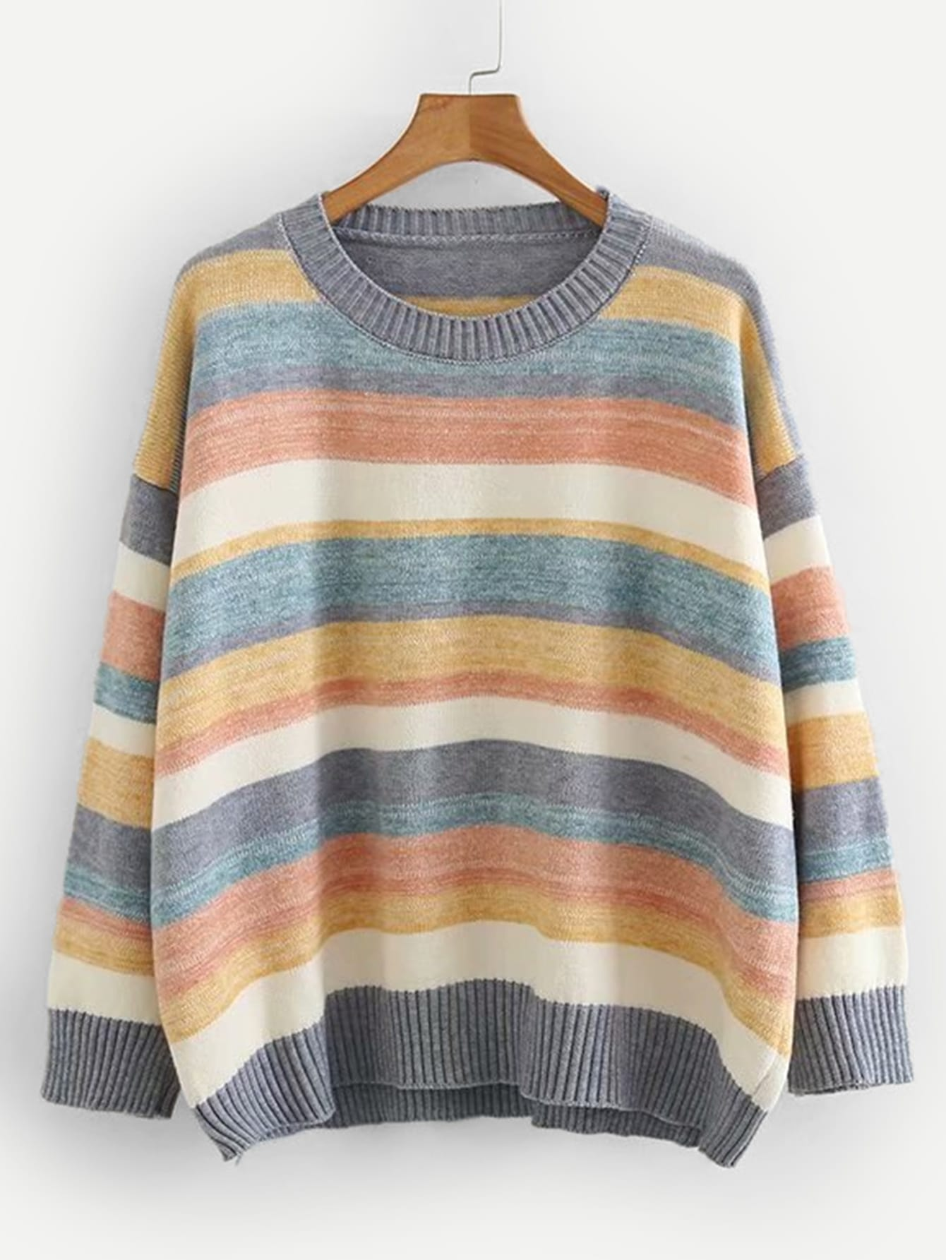 Drop Shoulder Colourful Striped Jumper Drop Shoulder Colourful Striped Jumper