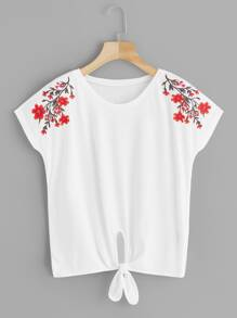 Floral Embroidered Knot Hem Blouse