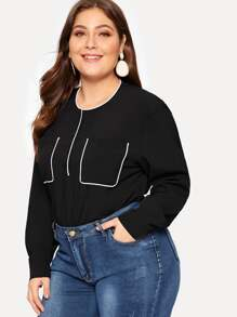Plus Contrast Trim Henley Blouse
