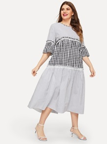 Plus Contrast Plaid Panel Flounce Sleeve Dress