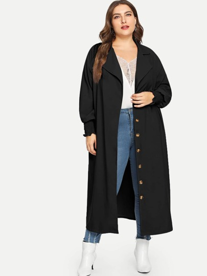 Plus Button Detail Lapel Collar Longline Coat