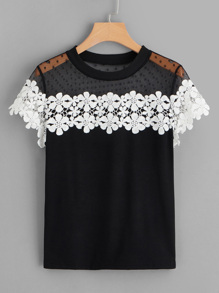 Dobby Mesh Yoke Contrast Crochet Flower Top