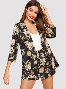 Chain Print Coat With Shorts