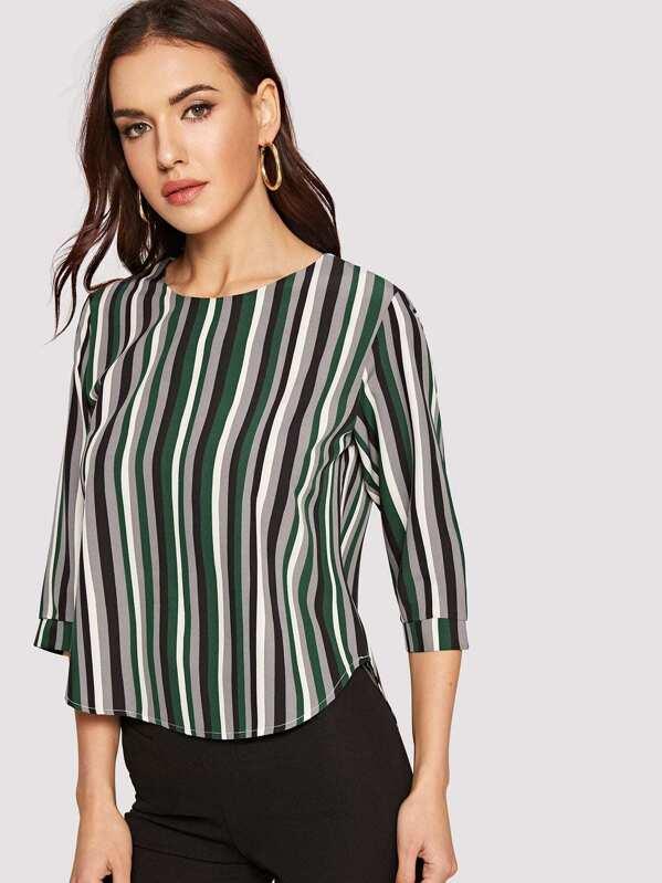 691d746ed9 Color-block Striped Curved Hem Top   SHEIN