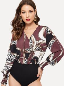 Chain Print V-neck Bodysuit