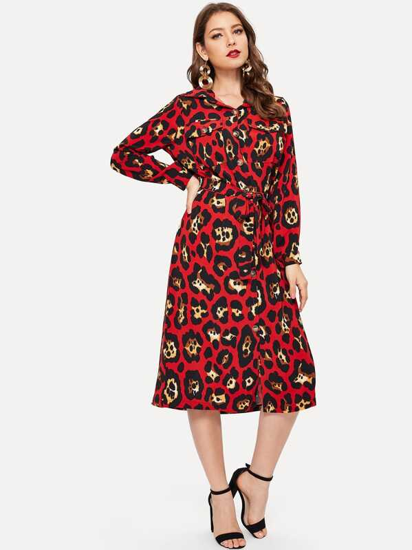 f58d31d2685 Leopard Print Belted Shirt Dress