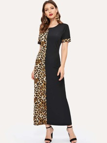 Leopard Spliced Maxi Dress