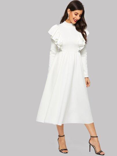 Mit Und Kleid Hijab Stehkragen Raffung PX8O0knw
