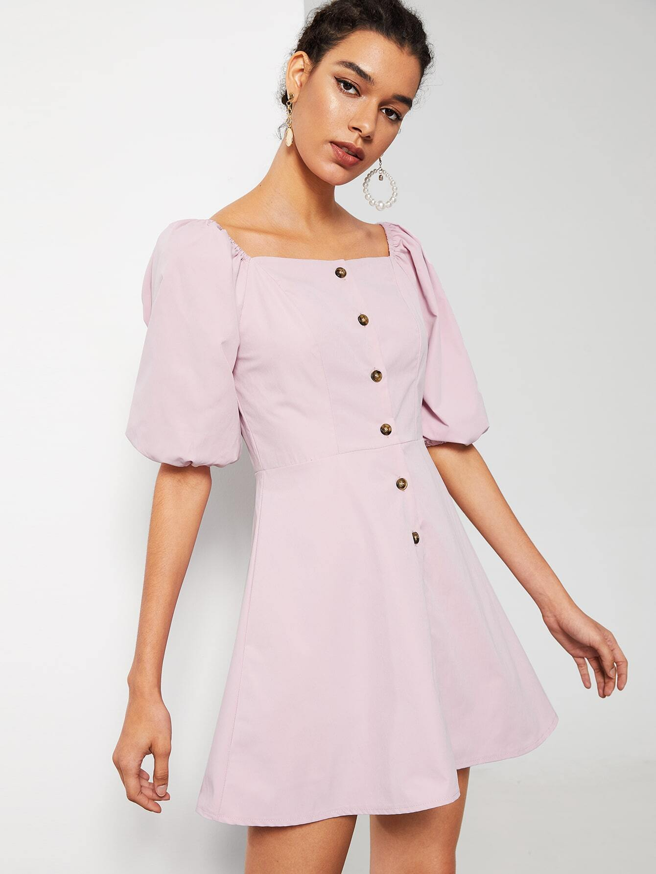Button Front Square Neck Dress by Romwe