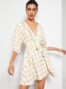 Plunge Neck Ruffle Trim Belted Plaid Dress