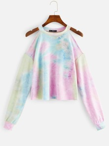 Tie Dye Cold Shoulder Pullover