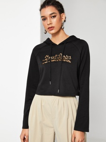 Leopard Letter Print Drawstring Hoodie