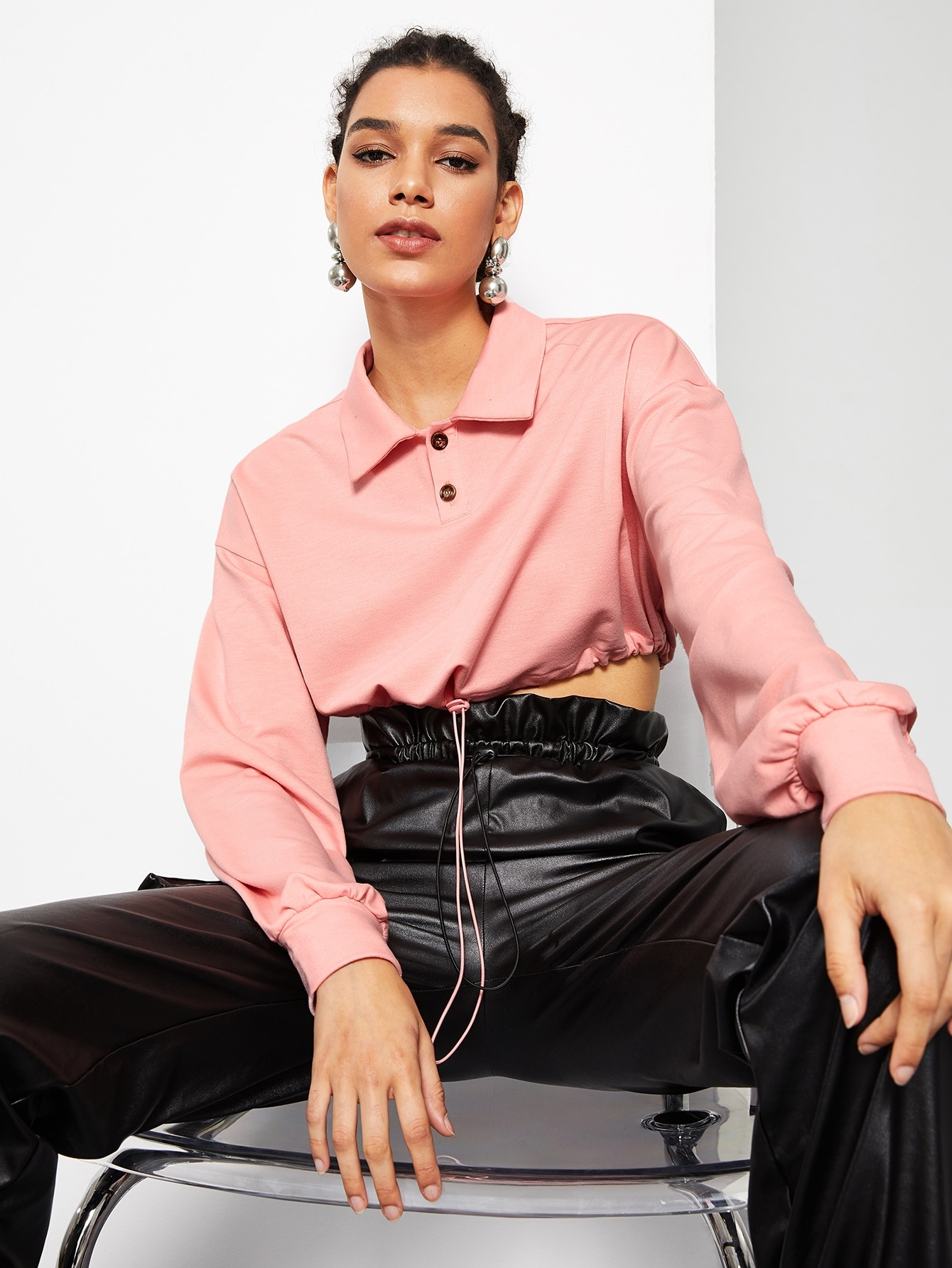 Drawstring Waist Button Collar Pullover by Romwe