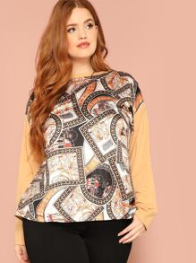 Plus Chain Print Drop Shoulder Tee