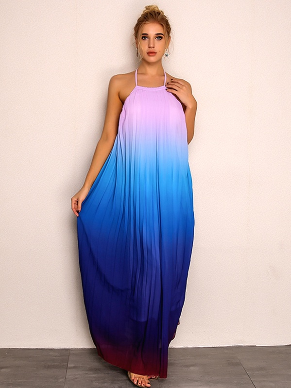 7f30019d0c Joyfunear Open Back Ombre Halter Maxi Dress