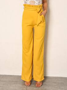 Joyfunear Paperbag Waist Wide Leg Belted Pants