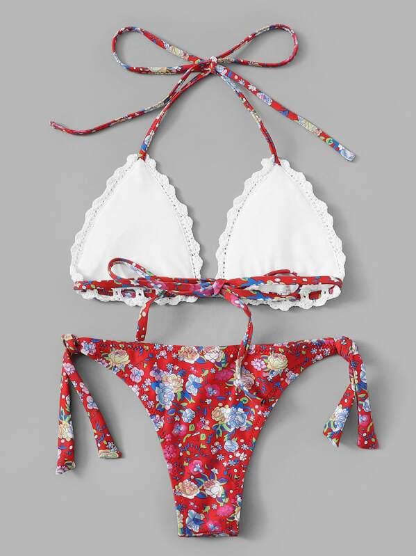 0b942e08db Floral Crochet Halter Top With Tie Side Bikini