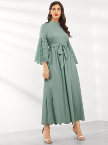 Laser Cut Scalloped Bell Sleeve Dress