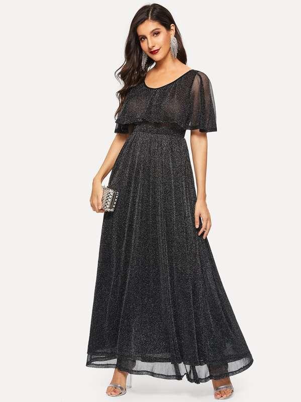 b5b8cc23 High Waist Flare Glitter Cape Dress   SHEIN