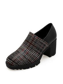Houndstooth Detail Chunky Heels