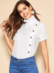 Button Front Frill Neck Blouse