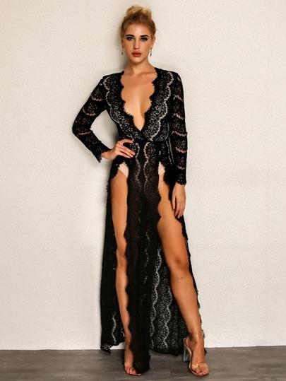 04f07cc0125027 Joyfunear Kleid mit tiefem Ausschnitt, hohem Schlitz und Wimpernspitze