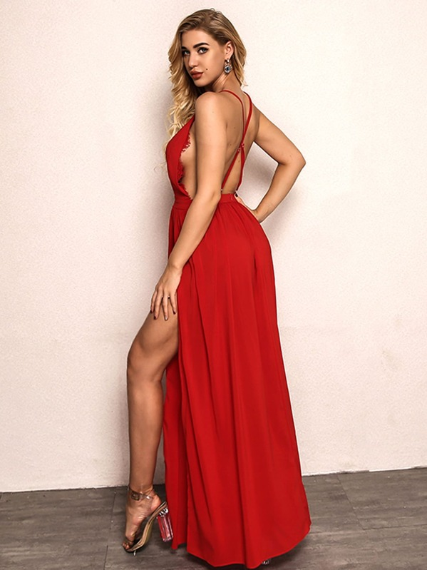 8ff69c4954daf Joyfunear Lace Insert High Split Halter Dress   SHEIN