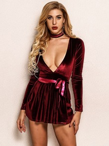 Joyfunear Ribbon Belted Velvet Jumpsuit With Choker
