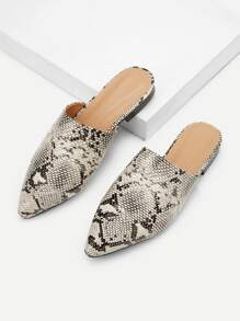 Snakeskin Pattern Point Toe Mule Flats
