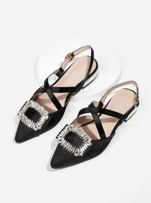 Jewelled Decor Criss Cross Slingback Flats