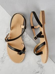 Strappy Slingback PU Sandals