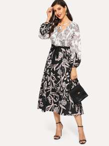 Floral Print Bishop Sleeve Waist Tie Dress
