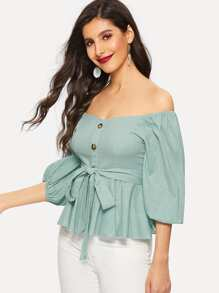 Off Shoulder Self Tie Waist Peplum Top