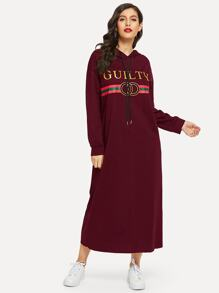 Letter Print Hoodie Maxi Sweatshirt Dress