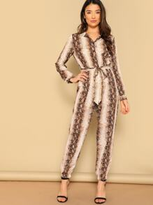 Single Breasted Belted Snakeskin Print Carrot Leg Jumpsuit