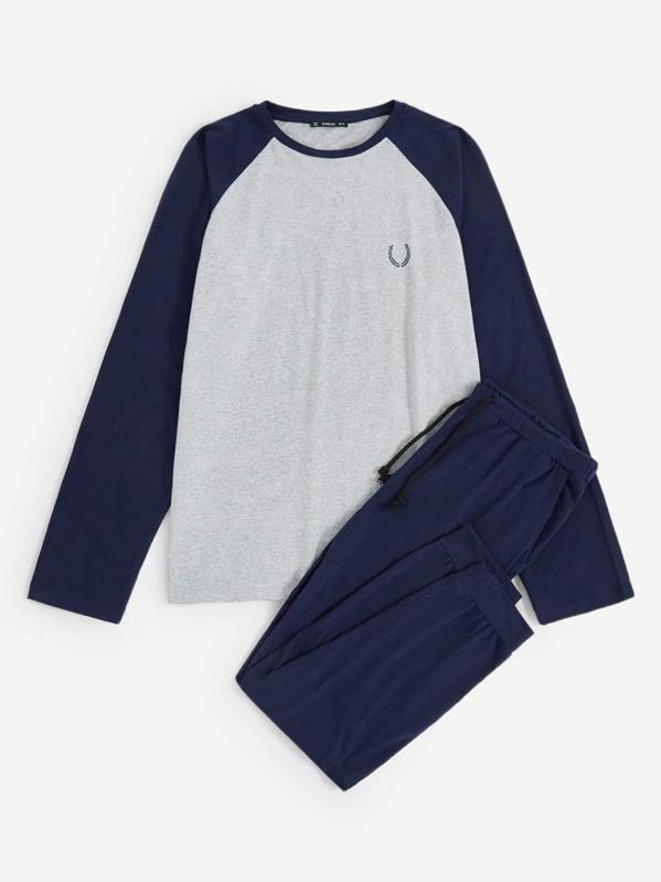 32062c9120 Men Color-Block Raglan Sleeve Tee & Pants PJ Set   SHEIN