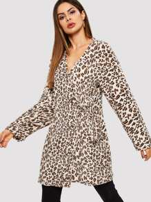 Ring Belted Wrap Leopard Teddy Coat
