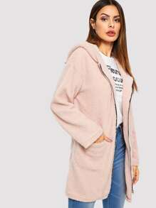Pocket Front Zip Up Hooded Teddy Coat