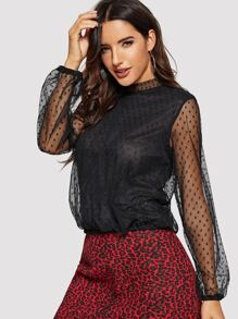 Mock-neck Keyhole Back Dot Mesh Overlay Top