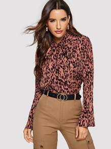 Tie Neck Bell Sleeve Leopard Top
