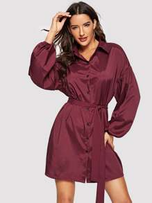 Lantern Sleeve Self Belted Shirt Dress