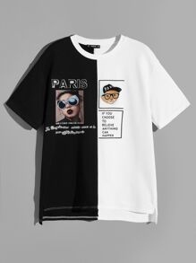 Men Two Tone Slogan and Figure Tee