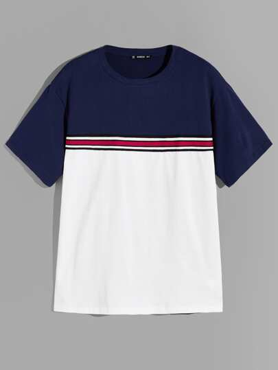 Guys Color Block Striped Top