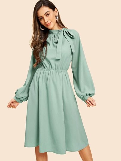 Tie Neck Lantern Sleeve Flare Dress