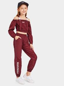 Girls Push Buckle Strap Letter Top & Pants Set