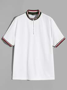 Men Striped Trim Zipper Up Polo Shirt