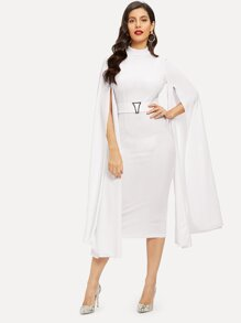 Exaggerated Cape Sleeve Form Fitting Dress