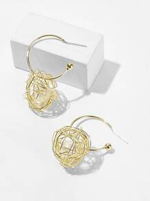 Hollow Ball Decor Hoop Earrings 1pair